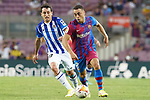 FC Barcelona's Sergino Dest (r) and Real Sociedad's Mikel Oyarzabal during La Liga match. August 15, 2021. (ALTERPHOTOS/Acero)