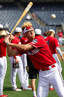 Louisville Cardinals pitcher Luke Smith (45) hits fungos before Game 7 of the NCAA College World Series against the Auburn Tigers on June 18, 2019 at TD Ameritrade Park in Omaha, Nebraska. Louisville defeated Auburn 5-3. (Andrew Woolley/Four Seam Images)
