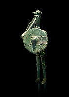 Iron Age Nuragic broze statue of a soldier with a shield and sword from Monte Arcosu di Uta, Sardinia. Museo archeologico nazionale, Cagliari, Italy. (National Archaeological Museum)  - Black Background