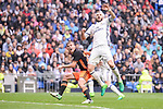 Real Madrid's Karim Benzema and Valencia CF's Toni Lato during La Liga match between Real Madrid and Valencia CF at Santiago Bernabeu Stadium in Madrid, April 29, 2017. Spain.<br /> (ALTERPHOTOS/BorjaB.Hojas)