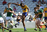 Chibby Okoye of Clare has a shot at goal against Kerry during their Munster Minor football final at Pairc Ui Chaoimh. Photograph by John Kelly.