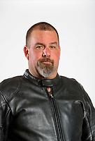 Feb 6, 2020; Pomona, CA, USA; NHRA top fuel nitro Harley Davidson motorcycle rider Tyler Wilson poses for a portrait during NHRA Media Day at the Pomona Fairplex. Mandatory Credit: Mark J. Rebilas-USA TODAY Sports