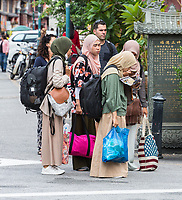 George Town, Penang, Malaysia.  Young Women in Conservative Muslim Dress.