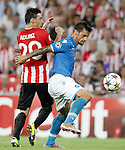 Athletic de Bilbao's Aritz Aduriz (l) and SSC Napoli's Christian Maggio during Champions League 2014/2015 Play-off 2nd leg match.August 27,2014. (ALTERPHOTOS/Acero)