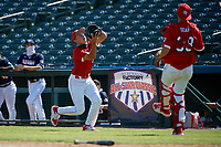 First baseman Wes Kath (10) catches a popup during the Baseball Factory All-Star Classic at Dr. Pepper Ballpark on October 4, 2020 in Frisco, Texas.  Wes Kath (10), a resident of Scottsdale, Arizona, attends Desert Mountain High School.  (Mike Augustin/Four Seam Images)
