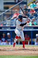 Portland Sea Dogs shortstop Jeremy Rivera (16) at bat during the first game of a doubleheader against the Reading Fightin Phils on May 15, 2018 at FirstEnergy Stadium in Reading, Pennsylvania.  Portland defeated Reading 8-4.  (Mike Janes/Four Seam Images)