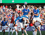 Kris Boyd, Lee McCulloch and Bilel Mohsni all attack a corner kick together