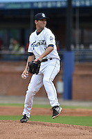 Asheville Tourists starting pitcher Konner Wade #11 delivers a pitch during a game against the Greenville Drive at McCormick Field on May 18, 2014 in Asheville, North Carolina. The Tourists defeated the Drive 3-1. (Tony Farlow/Four Seam Images)