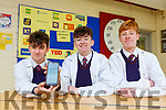 St Brendans College students Ethan Slattery, Gearoid Mulvihill and Eoghan Ó Dubhain who have designed the A WAtch-Electronic Tag & App for their entry into the Young Scientist exhibition