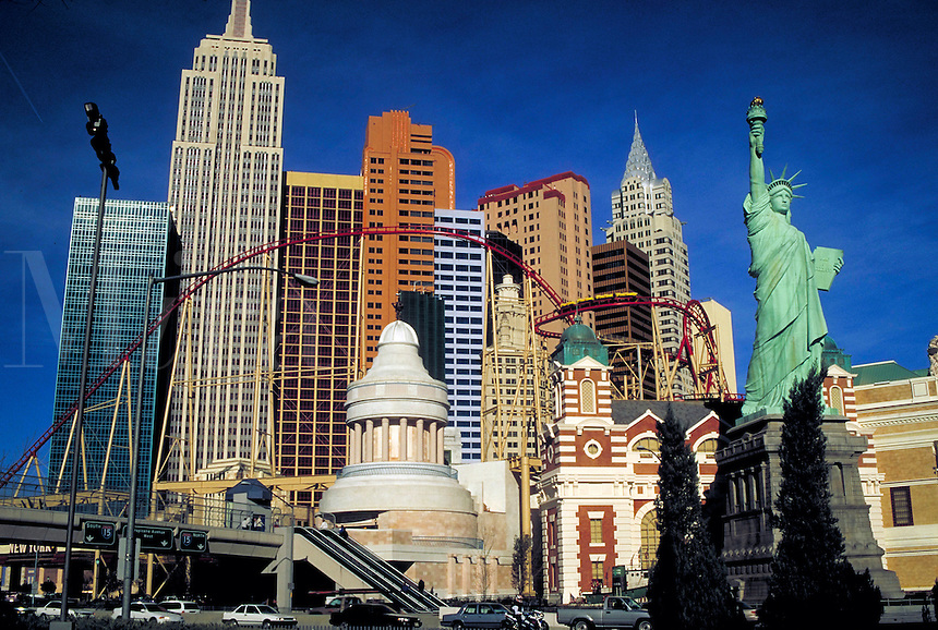 New York-New York Hotel & Casino. $460 million mega resort.  Las Vegas, Nevada. Joint venture of MGM Grand, Inc. and Primadonna Resorts Inc. New York-New York resort is built to represent a classic Manhattan skyline. Depicts 12 skyscrapers, has s 2,035 ro