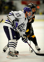 29 December 2007: Holy Cross Crusaders' forward Ryan Driscoll, a Sophomore from Dorchester, MA, in action against the University of Vermont Catamounts at Gutterson Fieldhouse in Burlington, Vermont. The Catamounts rallied in the final seconds of play to tie the game 1-1. After overtime, although the official result remained a tie game, the Cats moved up to the championship round by winning a sudden death shootout in the second game of the Sheraton/TD Banknorth Catamount Cup Tournament...Mandatory Photo Credit: Ed Wolfstein Photo