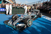 March 15, 2015: Lewis Hamilton (GBR) #44 from the Mercedes AMG Petronas F1 Team arrives at parc firm after winning the 2015 Australian Formula One Grand Prix at Albert Park, Melbourne, Australia. Photo Sydney Low