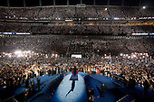 Denver, Colorado<br /> August 28, 2008<br /> <br /> Illinois Senator Barack Obama accepts his nomination for US President in front of 75,000 people at the Democratic National Convention closing night in Denver's Mile High Stadium.