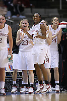10 March 2008: Stanford Cardinal (L-R) Jayne Appel, Jeanette Pohlen, Candice Wiggins, Hannah Donaghe, and Ashley Cimino during Stanford's 56-35 win against the California Golden Bears in the 2008 State Farm Pac-10 Women's Basketball championship game at HP Pavilion in San Jose, CA.