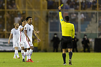 SAN SALVADOR, EL SALVADOR - SEPTEMBER 2: Weston McKennie #8 of the United States Yellow Card during a game between El Salvador and USMNT at Estadio Cuscatlán on September 2, 2021 in San Salvador, El Salvador.
