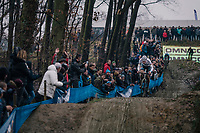 race leader VAN DER POEL Mathieu (NED/Corendon-Circus) coming down the dirt jump section<br /> <br /> GP Sven Nys (BEL) 2019<br /> DVV Trofee<br /> ©kramon
