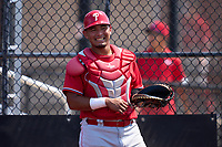 Philadelphia Phillies catcher Oscar Gonzalez (7) during an Extended Spring Training game against the Toronto Blue Jays on June 12, 2021 at the Carpenter Complex in Clearwater, Florida. (Mike Janes/Four Seam Images)