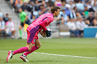 ST. PAUL, MN - AUGUST 21: Tyler Miller #1 of Minnesota United FC catches the ball during a game between Sporting Kansas City and Minnesota United FC at Allianz Field on August 21, 2021 in St. Paul, Minnesota.