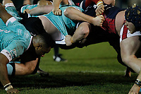 London Scottish and Nottingham Rugby jostle in the scrum during the Greene King IPA Championship match between London Scottish Football Club and Nottingham Rugby at Richmond Athletic Ground, Richmond, United Kingdom on 7 February 2020. Photo by Carlton Myrie.