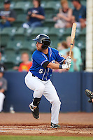 Biloxi Shuckers third baseman Taylor Green (5) at bat during a game against the Birmingham Barons on May 23, 2015 at Joe Davis Stadium in Huntsville, Alabama.  Birmingham defeated Biloxi 2-0 as the Shuckers are playing all games on the road, or neutral sites like their former home in Huntsville, until the teams new stadium is completed in early June.  (Mike Janes/Four Seam Images)