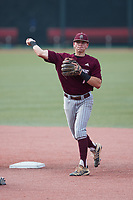 Bellarmine Knights shortstop Clayton Mehlbauer (7) makes a throw to first base against the Liberty Flames at Liberty Baseball Stadium on March 9, 2021 in Lynchburg, VA. (Brian Westerholt/Four Seam Images)