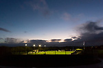 A view of Horsfall Stadium at dusk as Bradford Park Avenue  lose 1-2 to Telford United in the National League North, 21st November 2020. The match was played behind closed doors, due to the second Coronavirus lockdown.
