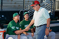 Hall of Fame Catcher Johnny Bench shakes hands with pitcher John Ghyzel as Ryan Nutof looks on before a Florida State League game between the Daytona Tortugas and Palm Beach Cardinals on April 11, 2019 at Roger Dean Stadium in Jupiter, Florida.  Palm Beach defeated Daytona 6-0.  (Mike Janes/Four Seam Images)