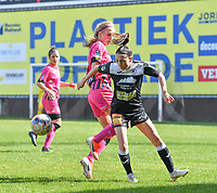Anke Vanhooren (7) of Eendracht Aalst pictured in a duel with Ludmila Matavkova (9) of Sporting Charleroi during a female soccer game between Eendracht Aalst and Sporting Charleroi on the 18 th and last matchday before the play offs of the 2020 - 2021 season of Belgian Scooore Womens Super League , Saturday 27 th of March 2021  in Aalst , Belgium . PHOTO SPORTPIX.BE | SPP | DAVID CATRY