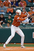 Texas Longhorns third baseman Erich Weiss #6 at bat against the Oklahoma Sooners in the NCAA baseball game on April 5, 2013 at UFCU DischFalk Field in Austin Texas. Oklahoma defeated Texas 2-1. (Andrew Woolley/Four Seam Images).