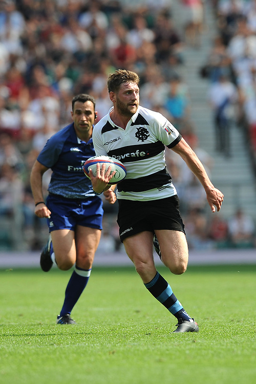 Finn Russell (Glasgow Warriors & Scotland) of Barbarians runs in a try during the Quilter Cup match between England and Barbarians at Twickenham Stadium on Sunday 27th May 2018 (Photo by Rob Munro/Stewart Communications)