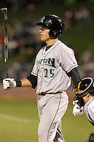Dayton Dragons first baseman Dominic D'Anna (25) during a game vs. the Great Lakes Loons at Dow Diamond in Midland, Michigan August 19, 2010.   Great Lakes defeated Dayton 1-0.  Photo By Mike Janes/Four Seam Images