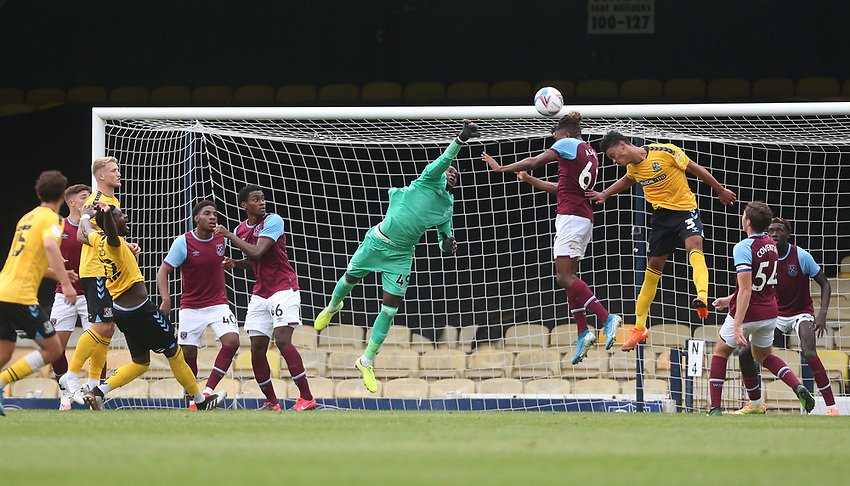 West Ham United's Joseph Anang deals with a cross<br /> <br /> Photographer Rob Newell/CameraSport<br /> <br /> EFL Trophy Southern Section Group A - Southend United v West Ham United U21 - Tuesday 8th September 2020 - Roots Hall - Southend-on-Sea<br />  <br /> World Copyright © 2020 CameraSport. All rights reserved. 43 Linden Ave. Countesthorpe. Leicester. England. LE8 5PG - Tel: +44 (0) 116 277 4147 - admin@camerasport.com - www.camerasport.com