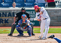 30 April 2017: Washington Nationals outfielder Jayson Werth singles to center to lead off the 4th inning against the New York Mets at Nationals Park in Washington, DC. The Nationals defeated the Mets 23-5, with the Nationals setting several individual and team records, in the third game of their weekend series. Mandatory Credit: Ed Wolfstein Photo *** RAW (NEF) Image File Available ***