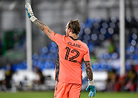LAKE BUENA VISTA, FL - AUGUST 01: Steve Clark #12 of the Portland Timbers signals to his team during a game between Portland Timbers and New York City FC at ESPN Wide World of Sports on August 01, 2020 in Lake Buena Vista, Florida.
