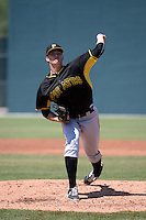 Pittsburgh Pirates pitcher John Sever (32) during a minor league spring training game against the Toronto Blue Jays on March 21, 2015 at Pirate City in Bradenton, Florida.  (Mike Janes/Four Seam Images)