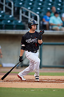 Birmingham Barons Blake Rutherford (9) at bat during a Southern League game against the Chattanooga Lookouts on July 24, 2019 at Regions Field in Birmingham, Alabama.  Chattanooga defeated Birmingham 9-1.  (Mike Janes/Four Seam Images)
