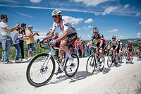 """Lawrence Naesen (BEL/AG2R Citroën) on the first gravel sector of the stage<br /> <br /> 104th Giro d'Italia 2021 (2.UWT)<br /> Stage 11 from Perugia to Montalcino (162km)<br /> """"the Strade Bianche stage""""<br /> <br /> ©kramon"""
