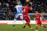 CD Leganes' Nabil El Zhar and Getafe CF's Leandro Cabrera fight for the ball during La Liga match between CD Leganes and Getafe CF at Butarque Stadium in Leganes, Spain. December 07, 2018. (ALTERPHOTOS/A. Perez Meca)