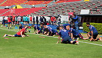 GUADALAJARA, MEXICO - MARCH 18: U-23 USMNT warming up before a game between Costa Rica and USMNT U-23 at Estadio Jalisco on March 18, 2021 in Guadalajara, Mexico.