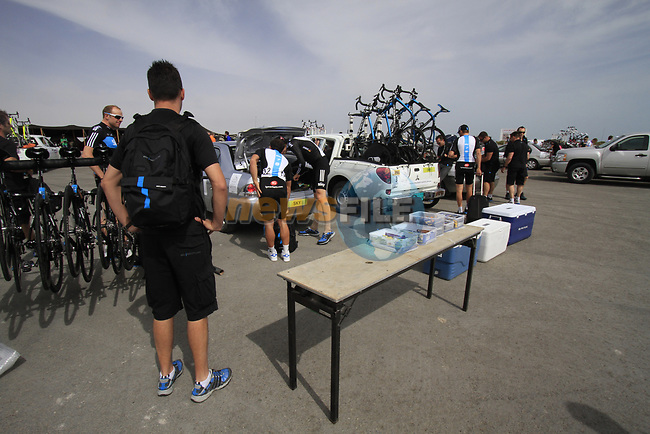 Sky Procycling team make preperations before the start of Stage 4 of the 2012 Tour of Qatar from Al Thakhira to Madinat Al Shamal, Qatar. 8th February 2012.<br /> (Photo Eoin Clarke/Newsfile)