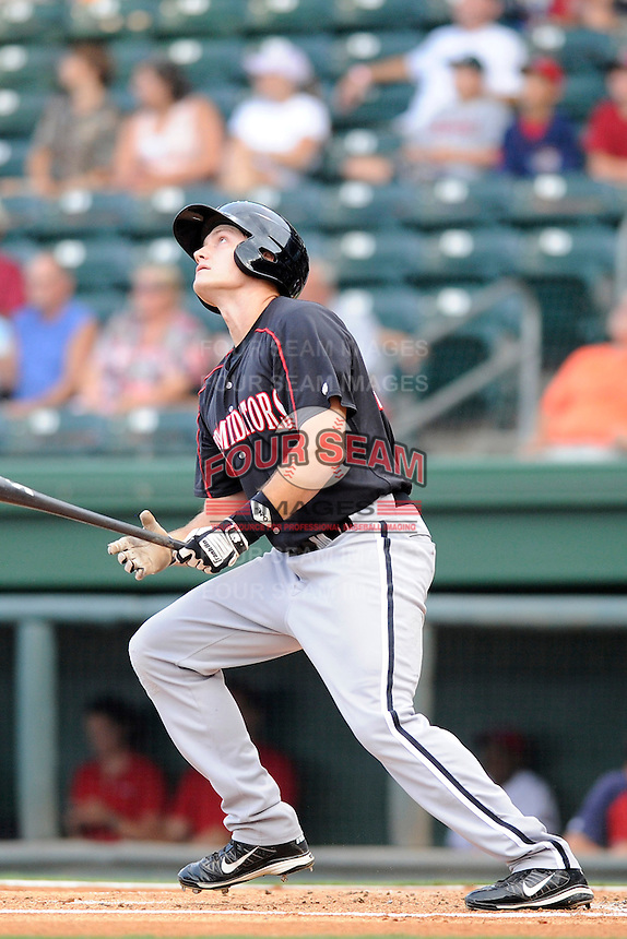 Designated hitter Jason Coats (17) of the Kannapolis Intimidators in a game against the Greenville Drive on Monday, August 5, 2013, at Fluor Field at the West End in Greenville, South Carolina. Kannapolis won, 3-0. (Tom Priddy/Four Seam Images)