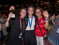 LYON,  - JULY 7: Rachel Rapinoe and Megan Rapinoe #15 celebrate with their mother at the post-game party during a game between Netherlands and USWNT at Stade de Lyon on July 7, 2019 in Lyon, France.