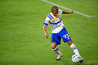 LOS ANGELES, CA - SEPTEMBER 02: Judson #93 of the San Jose Earthquakes passes off the ball during a game between San Jose Earthquakes and Los Angeles FC at Banc of California stadium on September 02, 2020 in Los Angeles, California.