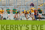 Tomas O'Connor, Kerry in action against Domhnall Nugent, and Aodhán O'Brien, Antrim during the Allianz Hurling League Division 2A Final match between Antrim and Kerry at Bord na Mona O'Connor Park in Tullamore, Offaly.