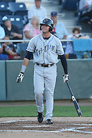 Ryan Garvey #10 of the Tri-City Dust Devils bats against the Everett AquaSox at Everett Memorial Stadium on July 29, 2014 in Everett, Washington. Everett defeated Tri-City, 7-5. (Larry Goren/Four Seam Images)