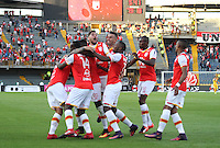 BOGOTA, COLOMBIA - January- 29-2017:  Players of Independiente Santa Fe   celebrate their  victory against of Independiente Medellin and win the National Super League Aguila 2017 during a match between Independiente Santa Fe and Independiente Medellin as part of National Super League Aguila 2017 match played  at Nemesio  Camacho El Campin Stadium on January 29, 2016 in Bogota, Colombia.   Photo by Felipe Caicedo/ VizzorImage / Staff