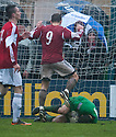 Beriwck keeper William Bald saves at the feet of Jamie McAllister in the final minute of the game.