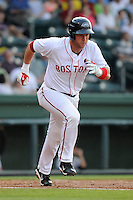Infielder David Chester (44) of the Greenville Drive in a game against the Charleston RiverDogs on Wednesday, June 12, 2013, at Fluor Field at the West End in Greenville, South Carolina. Charleston won, 10-5. The teams wore their Boston and New York affiliate uniforms as part of a promotion. (Tom Priddy/Four Seam Images)