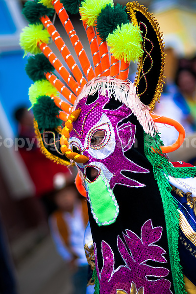 """A man dancer in a colorful costume performs Aya Uma, the creature from the Indian myths, during the Inti Raymi fiesta in Pichincha province, Ecuador, 27 June 2010. Inti Raymi, """"Festival of the Sun"""" in Quechua language, is an ancient spiritual ceremony held in the Indian regions of the Andes, mainly in Ecuador and Peru. The lively celebration, set by the winter solstice, goes on for various days. The highland Indians, wearing beautiful costumes, dance, drink and sing with no rest. Colorful processions in honor of the God Inti (Sun) pass through the mountain villages giving thanks for the harvest and expressing their deep relation to the Mother Earth (Pachamama)."""