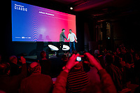 """Matt Stevens welcoming Johan Museeuw on stage<br /> <br /> Rouleur Classic London 2019<br /> """"The World's Finest Road Cycling Exhibition""""<br /> <br /> ©kramon"""